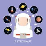 Αστροναύτης και διαστημικά εικονίδια Στοκ Εικόνες