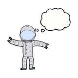 αστροναύτης κινούμενων σχεδίων με τη σκεπτόμενη φυσαλίδα Στοκ φωτογραφίες με δικαίωμα ελεύθερης χρήσης