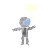 αστροναύτης κινούμενων σχεδίων που φθάνει με τη λεκτική φυσαλίδα Στοκ εικόνα με δικαίωμα ελεύθερης χρήσης