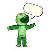 αστροναύτης κινούμενων σχεδίων που φθάνει με τη λεκτική φυσαλίδα Στοκ φωτογραφία με δικαίωμα ελεύθερης χρήσης