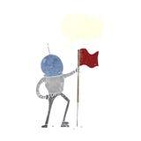 αστροναύτης κινούμενων σχεδίων που φυτεύει τη σημαία με τη λεκτική φυσαλίδα Στοκ Εικόνα