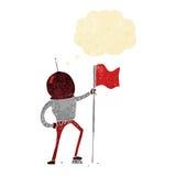 αστροναύτης κινούμενων σχεδίων που φυτεύει τη σημαία με τη σκεπτόμενη φυσαλίδα Στοκ φωτογραφία με δικαίωμα ελεύθερης χρήσης