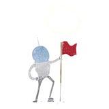 αστροναύτης κινούμενων σχεδίων που φυτεύει τη σημαία με τη σκεπτόμενη φυσαλίδα Στοκ Εικόνα