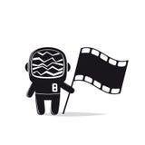 Αστροναύτης με το κεφάλι οθόνης και τη σημαία ταινιών Στοκ εικόνα με δικαίωμα ελεύθερης χρήσης