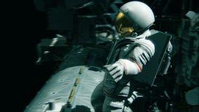 Αστροναύτης που εργάζεται στο ISS Ρεαλιστική 4K ζωτικότητα απεικόνιση αποθεμάτων