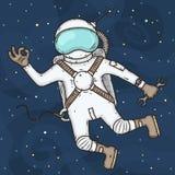 Αστροναύτης στη διανυσματική απεικόνιση έννοιας μακρινού διαστήματος στο ύφος κινούμενων σχεδίων Στοκ Εικόνες