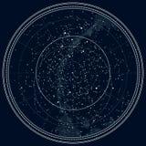 Αστρονομικός ουράνιος χάρτης του βόρειου ημισφαιρίου ελεύθερη απεικόνιση δικαιώματος