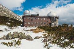 Αστρονομικό παρατηρητήριο στο pleso Skalnate στα υψηλά βουνά Tatras, Σλοβακία Στοκ Εικόνες