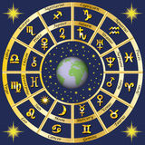 αστρολογίας Σημάδια zodiac και των χαρακτήρων κυβερνητών πλανητών Στοκ εικόνα με δικαίωμα ελεύθερης χρήσης