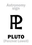 Αστρολογία: αστρονομικό σημάδι PLUTO Στοκ φωτογραφία με δικαίωμα ελεύθερης χρήσης