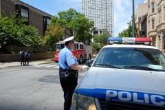 Αστυνομία της Φιλαδέλφειας στενή από τις οδούς πόλεων λόγω  Στοκ Εικόνες