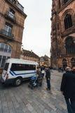 Αστυνομία security van surveillance της αγοράς Χριστουγέννων Στοκ Εικόνες