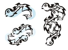 Ασυνήθιστα σύμβολα ψαριών διανυσματική απεικόνιση
