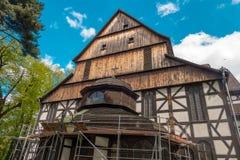 Ασυνήθιστη ξύλινη εκκλησία της ειρήνης που βρίσκεται σε Åšwidnica στη Σιλεσία μέσα Στοκ Εικόνες