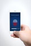 Ασφάλεια ανίχνευσης δάχτυλων Smartphone στοκ φωτογραφία με δικαίωμα ελεύθερης χρήσης