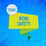 Ασφάλεια εργασίας κειμένων γραφής Έννοια που σημαίνει τις πολιτικές και τις διαδικασίες για να εξασφαλίσει σε ισχύ υγεία του κενο διανυσματική απεικόνιση