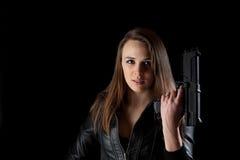 ασφάλεια πυροβόλων όπλων κοριτσιών Στοκ Εικόνες