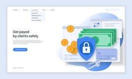 Ασφάλεια στο διαδίκτυο και τη προστασία δεδομένων Σχέδιο της κύριας σελίδας του ιστοχώρου Στοκ Εικόνες