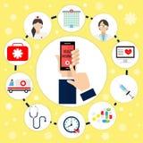 Ασφάλεια υγείας οθόνης αφής στο τηλέφωνο Υγεία προστασίας, υγειονομική περίθαλψη, ιατρική υπηρεσία, ιατρική, διανυσματική απεικόν Στοκ Φωτογραφίες