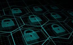 Ασφάλεια Cyber, ασφάλεια πληροφοριών απεικόνιση αποθεμάτων