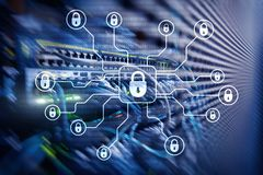 Ασφάλεια Cyber, προστασία δεδομένων, ιδιωτικότητα πληροφοριών Διαδίκτυο και έννοια τεχνολογίας διανυσματική απεικόνιση