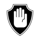 Ασφάλεια ασπίδων με το απομονωμένο στάση εικονίδιο χεριών ελεύθερη απεικόνιση δικαιώματος