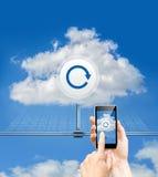 Ασφάλεια δεδομένων σύννεφων αναπροσαρμογών και τηλέφωνο αναπροσαρμογών Στοκ εικόνα με δικαίωμα ελεύθερης χρήσης
