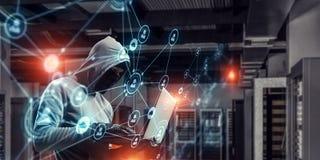Ασφάλεια δικτύων και έγκλημα μυστικότητας Μικτά μέσα στοκ εικόνες με δικαίωμα ελεύθερης χρήσης