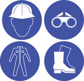 Ασφάλεια στα μπλε σημάδια εργασίας Στοκ φωτογραφία με δικαίωμα ελεύθερης χρήσης