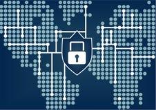 Ασφάλεια ΤΠ της σφαιρικής οργάνωσης για να αποτρέψει τις παραβιάσεις στοιχείων και δικτύων Στοκ Εικόνα