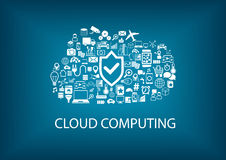 ασφάλεια υπολογισμού σύννεφων Ασφάλεια στην έννοια σύννεφων με τα εικονίδια στο θολωμένο υπόβαθρο ελεύθερη απεικόνιση δικαιώματος