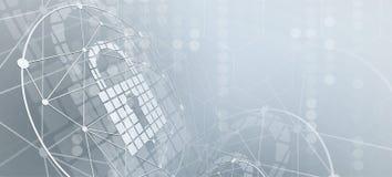 Ασφάλεια Cyber και πληροφορίες ή προστασία δικτύων Μέλλον tec ελεύθερη απεικόνιση δικαιώματος
