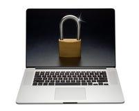 Ασφάλεια lap-top Διαδικτύου, που απομονώνεται Στοκ φωτογραφία με δικαίωμα ελεύθερης χρήσης