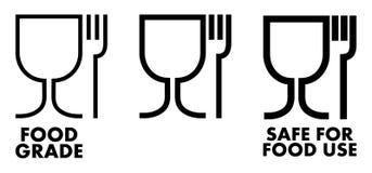 Ασφαλές υλικό σημάδι τροφίμων Γυαλί κρασιού και σύμβολο δικράνων που σημαίνει τα plas διανυσματική απεικόνιση