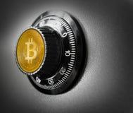 Ασφαλής έννοια ασφάλειας νομίσματος κιβωτίων χάλυβα Bitcoin BTC Στοκ φωτογραφία με δικαίωμα ελεύθερης χρήσης