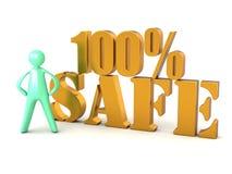 ασφαλής εγγραφή 100% και άτομο κινούμενων σχεδίων Στοκ φωτογραφία με δικαίωμα ελεύθερης χρήσης
