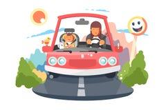 Ασφαλής οδηγώντας μητέρα με το ταξίδι αυτοκινήτων παιδιών μωρών απεικόνιση αποθεμάτων