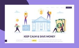 Ασφαλής τραπεζική κατάθεση στην προσγειωμένος σελίδα μετρητών Έννοια ιστοχώρου χρημάτων αποταμίευσης Εισόδημα αύξησης επένδυσης ο ελεύθερη απεικόνιση δικαιώματος