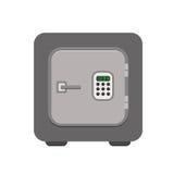 Ασφαλές εικονίδιο τραπεζών μετάλλων σε ένα επίπεδο ύφος Στοκ Φωτογραφίες