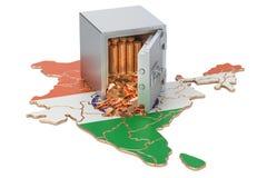 Ασφαλές κιβώτιο με τα χρυσά νομίσματα στο χάρτη της Ινδίας, τρισδιάστατη απόδοση Στοκ εικόνες με δικαίωμα ελεύθερης χρήσης