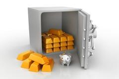 Ασφαλές ντουλάπι με τους χρυσούς φραγμούς Στοκ φωτογραφίες με δικαίωμα ελεύθερης χρήσης