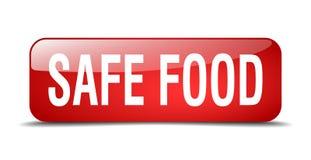 Ασφαλές τροφίμων κουμπί Ιστού κόκκινων τετραγώνων απομονωμένο ελεύθερη απεικόνιση δικαιώματος