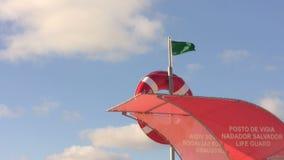 Ασφαλής φρουρημένη πράσινη σημαία φρουράς ζωής παραλιών απόθεμα βίντεο