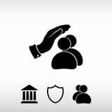 Ασφαλείς λαοί, διανυσματική απεικόνιση εικονιδίων Επίπεδο ύφος σχεδίου Στοκ Εικόνα