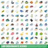 100 ασφαλιστικά εικονίδια καθορισμένα, isometric τρισδιάστατο ύφος διανυσματική απεικόνιση