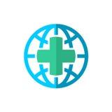 Ασφαλιστικό λογότυπο ταξιδιού παγκόσμιων σφαιρών ιατρικό διανυσματική απεικόνιση