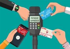 Ασύρματες, ανέπαφες ή cashless πληρωμές διανυσματική απεικόνιση