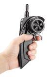 Ασύρματος τηλεχειρισμός για τα παιχνίδια που κρατά στο αριστερό χέρι στοκ εικόνες