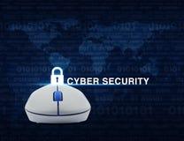 Ασύρματο ποντίκι υπολογιστών με το βασικό κείμενο Ov εικονιδίων και cyber ασφάλειας Στοκ Εικόνες
