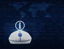 Ασύρματο ποντίκι υπολογιστών με το εικονίδιο σημαδιών πληροφοριών πέρα από τον υπολογιστή Στοκ εικόνες με δικαίωμα ελεύθερης χρήσης